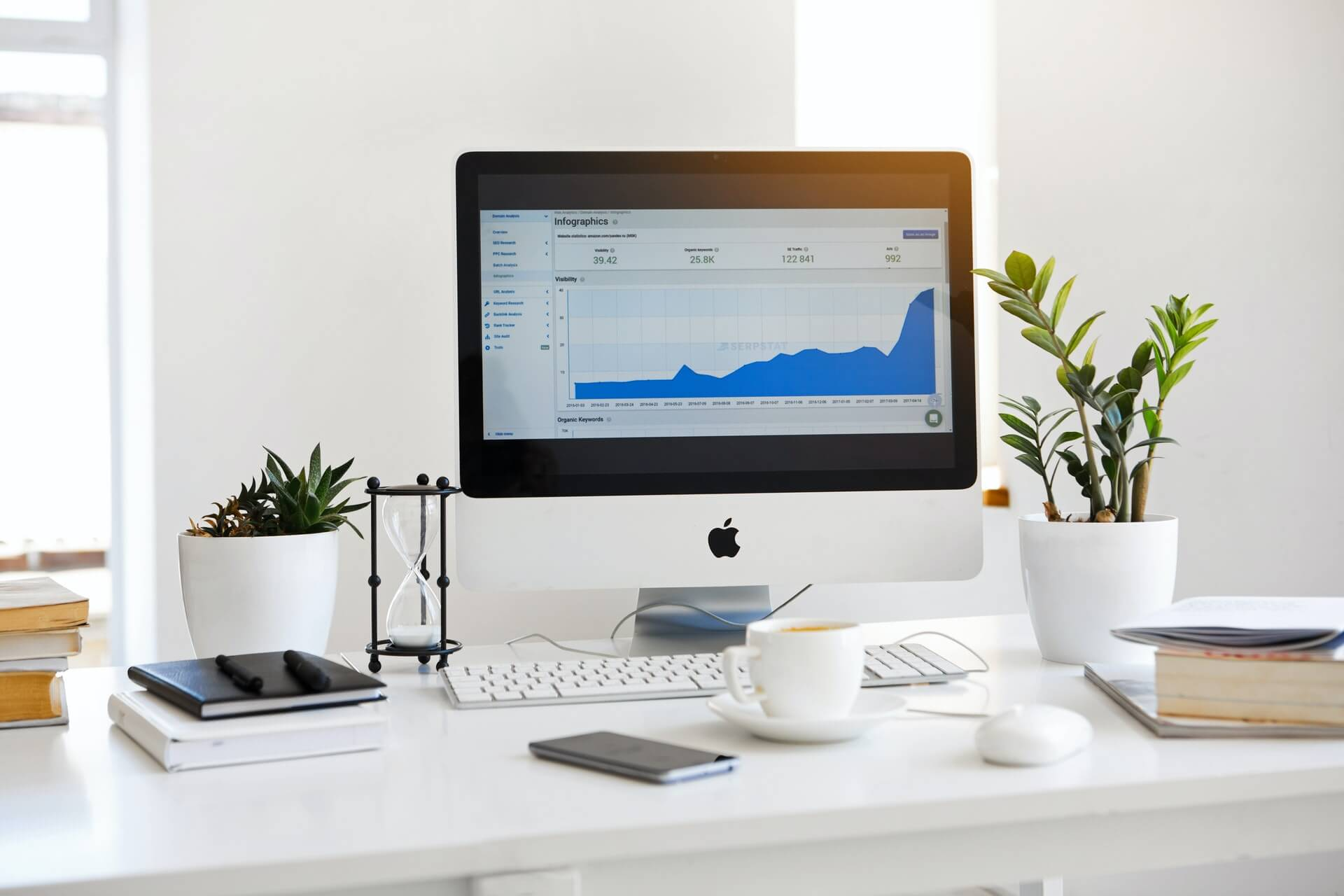 Desktop computer with analytics on the screen